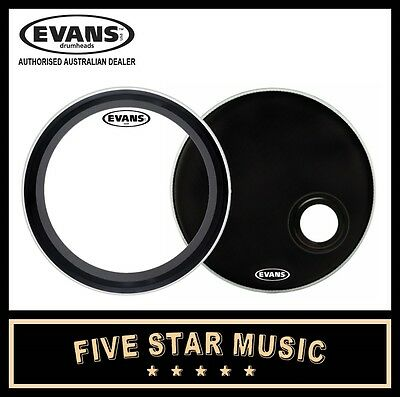 """Evans Emad Skin Set With Clear And Black Resonant Skins 20"""" Bass Kick Drum Skins"""