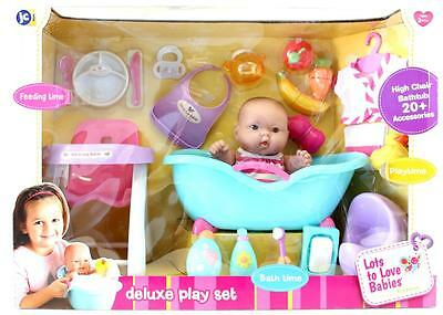 Baby Doll Deluxe  Bath & Feeding Time Play Set With Doll, Bath & High Chair
