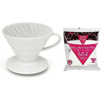 NEW HARIO V60 02 DRIPPER 100 FILTER PAPER CERAMIC Coffee Cup Pour Over Brewer