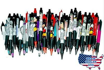 50 Wholesale Lot Misprint Ink Pens, Ball Point, Plastic, Retractable, New