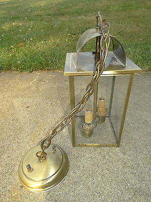 Vintage Brass Hanging Light Lantern 4-Sided Glass Chain Swing Colonial Fixture