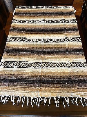 """Mexican Falsa Blanket Economy Weight 2+ lbs Tan and Brown Stripe 48"""" x 73"""" Yoga"""