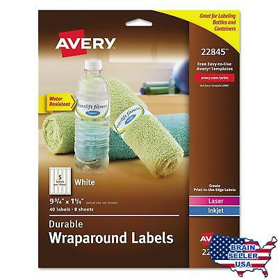 Avery Durable Waterproof Wraparound Water Bottle Labels, 1-1/4 x 9-3/4 Inches, P