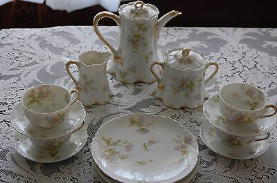 Haviland Limoges  Floral Teapot, Cr And Sugar , 4 Cups And Saucers And 4 Plates