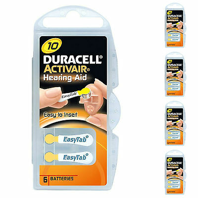30 X Duracell Activair Size 10 Hearing Aid Batteries 0% Mercury Free Pack 6 X 5