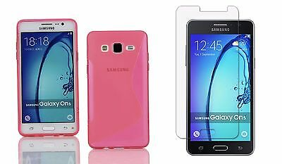 PINK S-LINE TPU CASE+ CLEAR SCREEN PROTECTOR FOR T-MOBILE SAMSUNG GALAXY On5