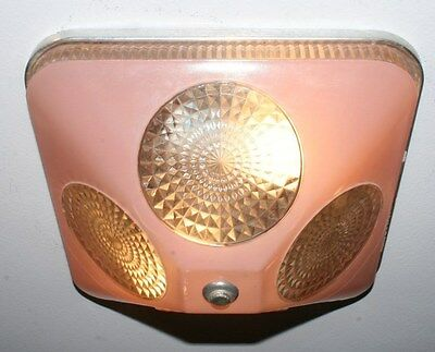 Antique pink square glass flush art deco light fixture ceiling chandelier 1940s