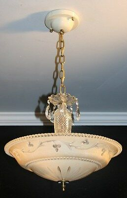 Antique white frosted glass art deco light fixture ceiling chandelier original