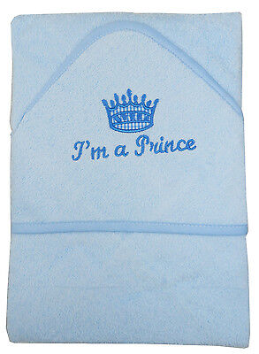 Baby Boys I Am A Prince Hooded Robe Bath Towelling Hooded Towel In Blue