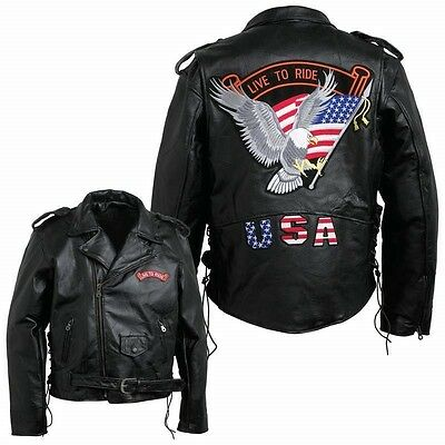 Mens Black Buffalo Leather MOTORCYCLE JACKET Coat Biker ZipOut Liner USA Patches