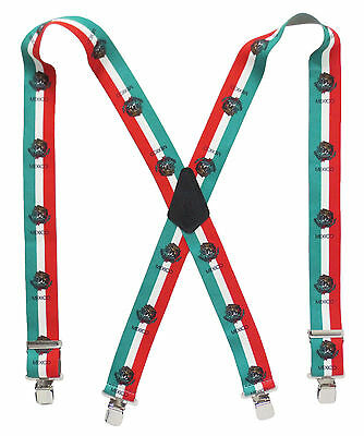 """Mexican Flag Suspenders 2"""" Wide Heavy Duty Work Dress Play Choose Your Size"""