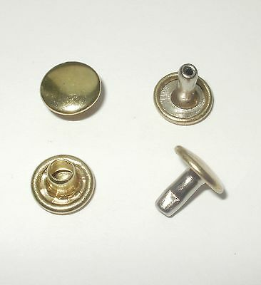 Gold Rivets 9Mm Diameter Caps X 9Mm Stems Double Cap Leathercraft