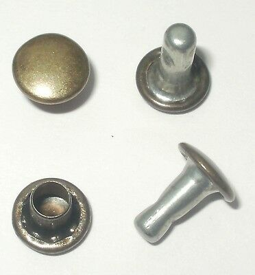 Old Brass Rivets 7Mm Diameter Caps X 8Mm Stems Double Cap Leather Craft