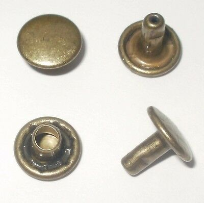Old Brass Rivets 9Mm Diameter Caps X 7Mm Stems Double Cap Leathercraft