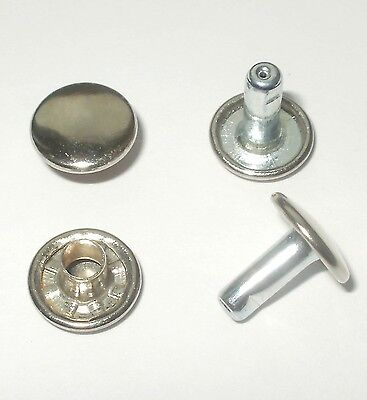 Nickel Rivets 9Mm Diameter X 9Mm Stems Double Cap Leathercraft