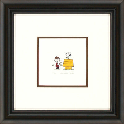 Peanuts Charlie Brown and Snoopy with Dog House J Framed Etching LE 500 Lg