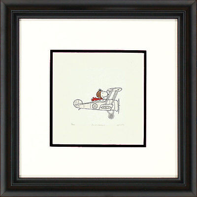 Peanuts Snoopy in Plane H Framed Etching LE 500 Sm Paper Signed NEW In-Stock