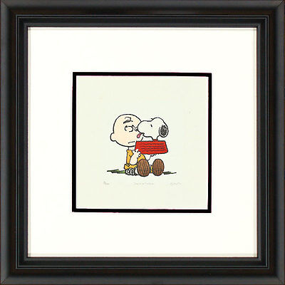 Peanuts Snoopy in Bowl Licking Charlie Brown J Framed Etching LE 500 Med Paper