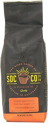 San Diego Coffee Pumpkin Spice Flavored Whole Bean Roasted Coffee 16-Ounce (1...