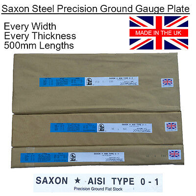 Ground Flat Stock Gauge Plate O1 Steel. Every Metric Thickness + Width x 500mm