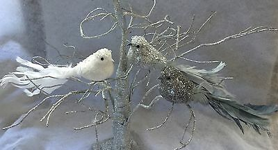 26cm Glitter Jewel Clip In Bird Decoration Christmas Wedding Feather Grey White