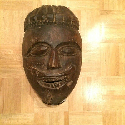 "Hand Carved Wooden Indian Mask (17"" x 10"")"
