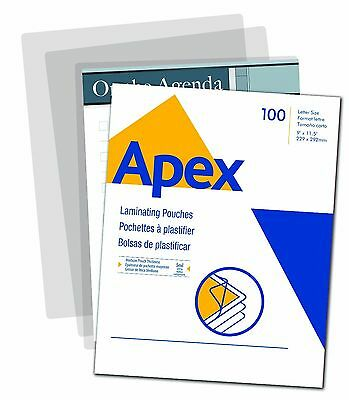 Apex Medium Laminating Pouches Letter Size for 5ml Setting 100 Per Pack