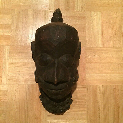 "Hand Carved Wooden Indian Mask (17"" x 7"")"