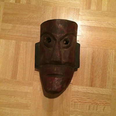 "Hand Carved Wooden Indian Mask (10"" x 8"")"