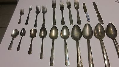 Vintage ASSORTED Silverplate Flatware Lot 20 Forks SPOONS Rogers SILVER