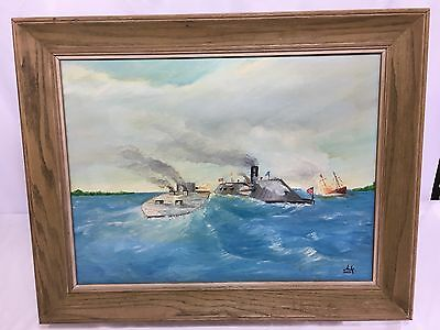 Civil War Ironclad Battle Framed Oil Painting - CSS Virginia & USS Monitor