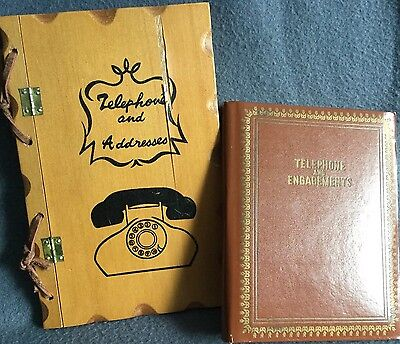 Retro Telephone & Address Books x2 Genuine Vintage Unused Engagements Xmas List