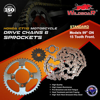 "Honda Ct110 Ct 110 Postie Bike Chain Sprocket Kit 99"" On Standard Heavy Duty Kit"