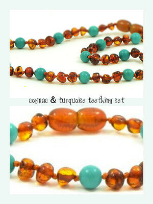 BALTIC Amber Necklace & Bracelet Set for toddler baby child - Cognac/Turquoise