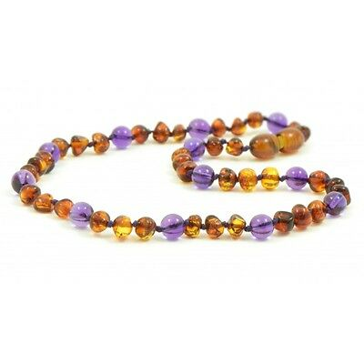 Certified BALTIC Amber Teething Necklace, baby or toddler - Cognac/Amethyst