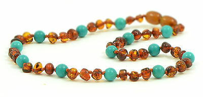 Certified BALTIC Amber Teething Necklace for child - Cognac & Turquoise
