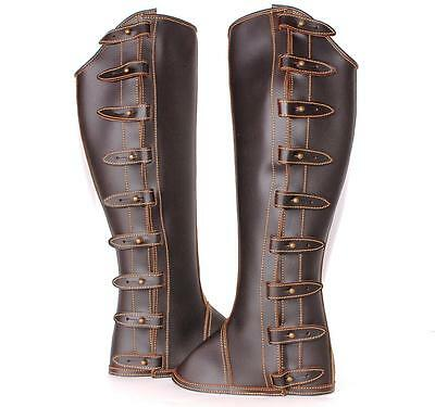 New Medium Horse Portuguese Riding ADULT HALF CHAPS Calf Leather