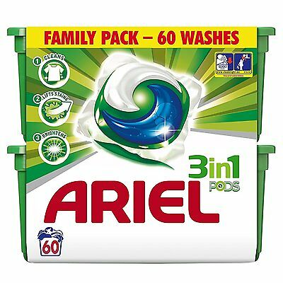 Ariel Bio 3-in-1 Pods Washing Capsules - 3 x 60 Pack 180 Washes