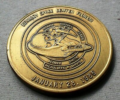 CHALLENGER SERIES NASA 38mm MEDAL/COIN ANTIQUE BRONZE FINISH JANUARY 28, 1986
