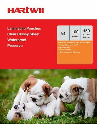 Hartwii 100 Sheets  A4  Glossy Clear Laminating Pouches  Film 150 Micron
