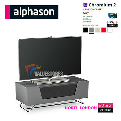 Alphason Chromium 2 Grey TV Cabinet / Unit for LED LCD TVs up to 50″ Fast P+P