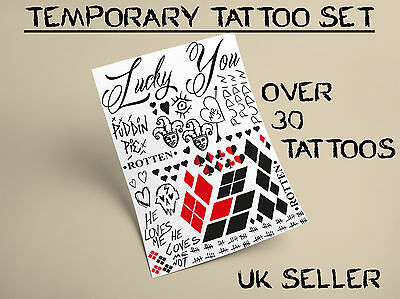 Harley Quinn Temporary Tattoo Set Suicide Squad Costume Halloween Fancy Dress