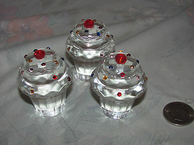 Simon Designs Lot of 3 Crystal Cupcake PaperWeights 2""