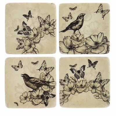 4 Ceramic Coasters Set Shabby Chic Vintage Butterfly French Antique Country Tile
