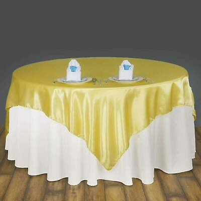 "72""x72"" Square Satin Overlay Wedding Party Banquet Decoration 20+ Colors!"
