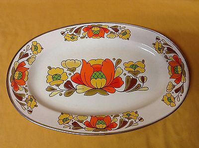 Vtg Retro Country Flowers Porcelain Enameled Steel Sanko Ware Large Floral Tray