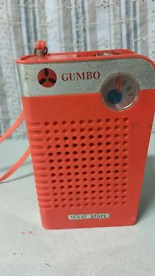 VINTAGE RETRO 70s ? ORANGE PORTABLE AM POCKET RADIO GUMBO SOLID STATE TRANSISTOR