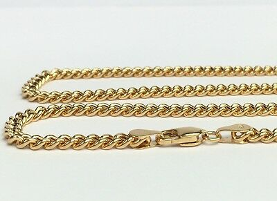 18k Solid Yellow Gold Italian Flat Curb/Link Chain Necklace, 24Inches,12.90Grams