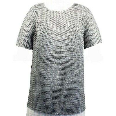 MS Flat Riveted with Washer Chain Mail Shirt SMALL Medieval Chainmail Haubergeon