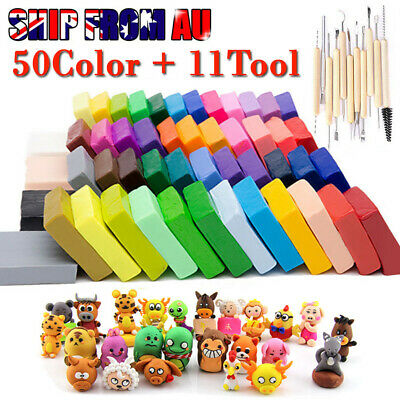50 Colors Kids Fimo Modelling Clay Block Polymer Bake Moulds Molds Tools Kit Set